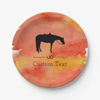 Black Western Horse Silhouette on Watercolor Paper Plate