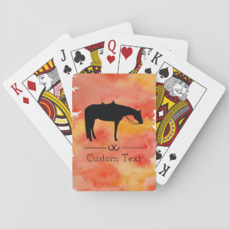 Black Western Horse Silhouette on Watercolor Playing Cards