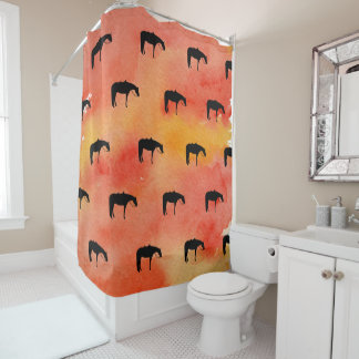 Black Western Horse Silhouette on Watercolor Shower Curtain