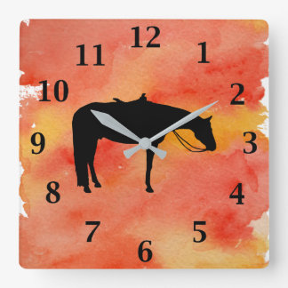 Black Western Horse Silhouette on Watercolor Square Wall Clock