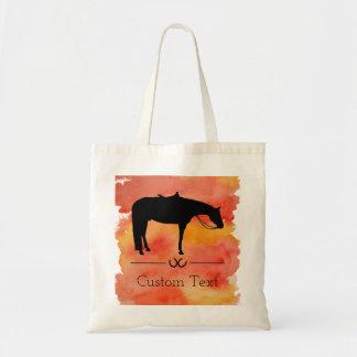 Black Western Horse Silhouette on Watercolor Tote Bag