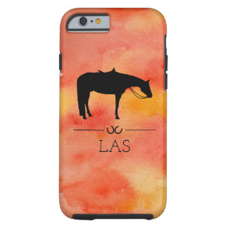Black Western Horse Silhouette on Watercolor Tough iPhone 6 Case