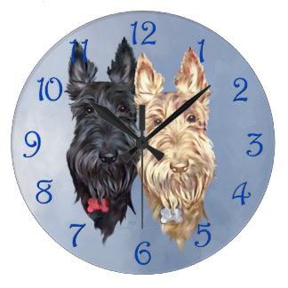 Black & Wheaten Scottish Terriers Large Clock