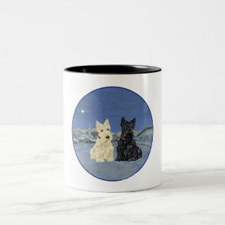 Black & Wheaten Scottish Terriers Winter Two-Tone Coffee Mug