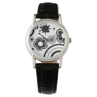 Black Whimsical Flowers, Circles, Splatter Pattern Watch
