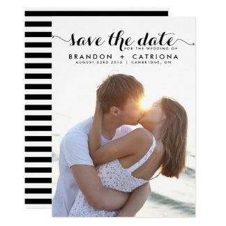 Black Whimsical Script Photo Save the Date 13 Cm X 18 Cm Invitation Card