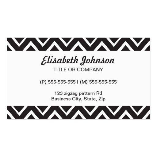 Black whimsical zig zags zigzag chevron pattern business card