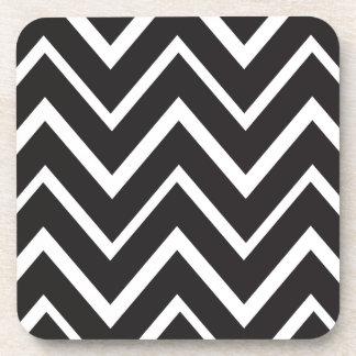 Black whimsical zig zags zigzag chevron pattern beverage coasters