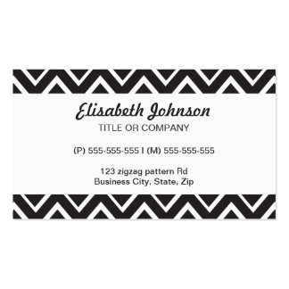 Black whimsical zig zags zigzag chevron pattern pack of standard business cards