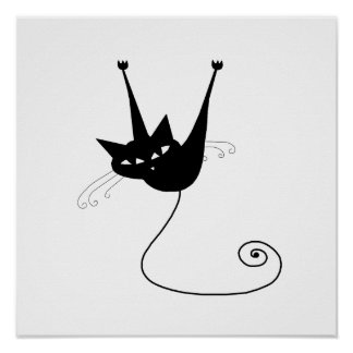 Black Whimsy Kitty 1 Poster