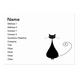 Black Whimsy Kitty 4 Business Card Template