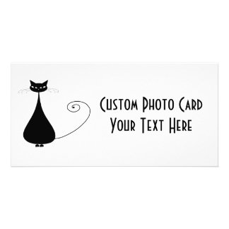 Black Whimsy Kitty 4 Personalized Photo Card