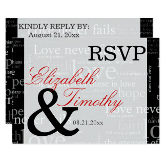 Black & White 1 Corinthians 13 RSVP Response Card