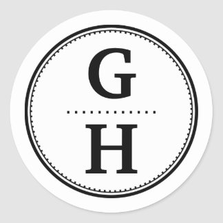 Black white 2 initial letter monogram gift tag round sticker