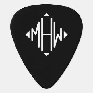 Black White 3 Initials Diamond Shape Monogram Guitar Pick