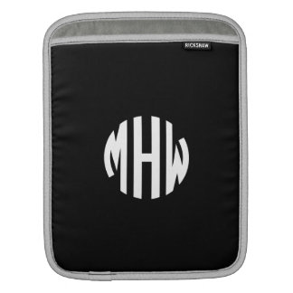 Black White 3 Initials in a Circle Monogram Sleeves For iPads