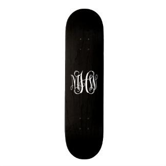 Black White 3 Initials Vine Script Monogram Skate Board Deck