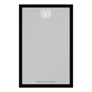Black White 3 Initials Vine Script Monogram Stationery Design