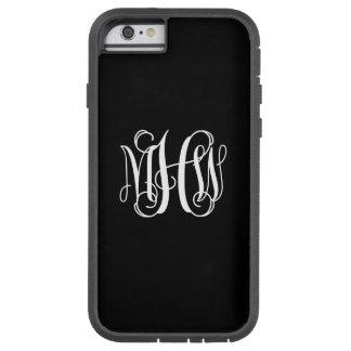 Black White 3 Initials Vine Script Monogram Tough Xtreme iPhone 6 Case