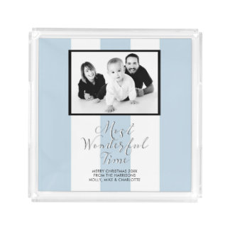 Black White 3 Stripes Duck Egg Blue Photo Xmas Acrylic Tray
