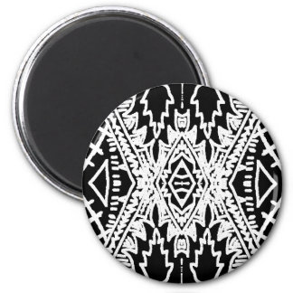 Black/White Abstract #1 6 Cm Round Magnet