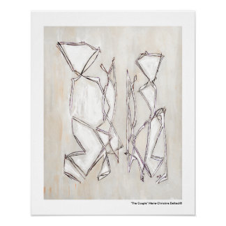Black White Abstract Art Couple on Archival print