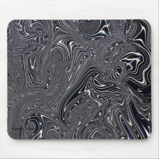 Black & White Abstract Digital Art Mouse Pad
