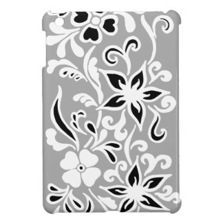 Black & white abstract flower pattern on gray case for the iPad mini