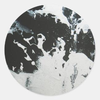 Black & White Abstract Marble Design Illustration Round Sticker