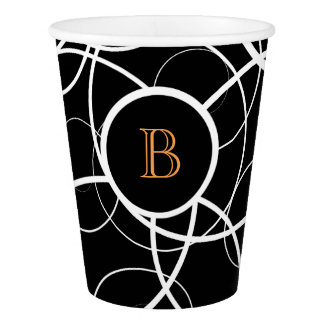 Black & White abstract orange monogram | Paper Cup
