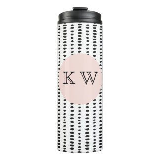Black & White Abstract Pattern Thermal Tumbler