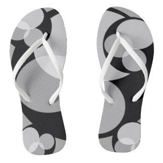 Black & White Abstract Print Contrast Cool Chic Thongs