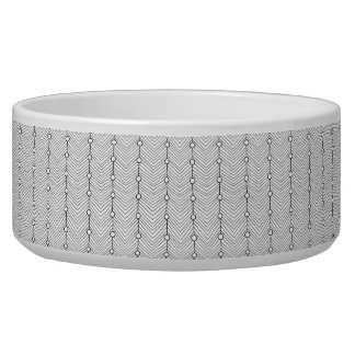 Black & White Abstract Retro Print Large Pet Bowl