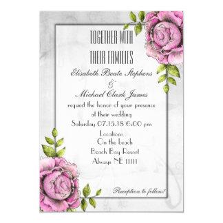 "Black White Abstract Rose: Semi-Gloss 5"" x 7"" 13 Cm X 18 Cm Invitation Card"