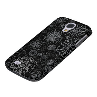 Black & White Abstract Snowflake Variety Pattern Samsung Galaxy S4 Case