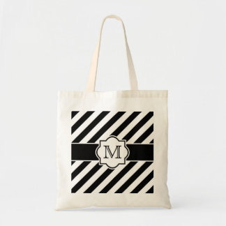Black White Abstract Striped Pattern with Monogram Budget Tote Bag