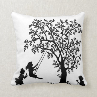 Black & White Abstract Tree kids playing pillow Cushion