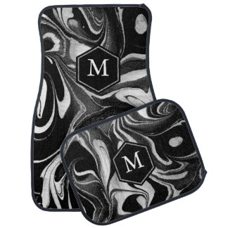 Black & White Abstract Wavy Marble Swirls Car Mat