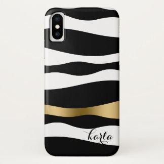 Black & White Abstract Zebra Stripes iPhone X Case