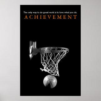 Black White Achievement Motivational Basketball Poster