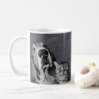 Black White Adorable Cartoon Cat & Dog Chalkboard Coffee Mug