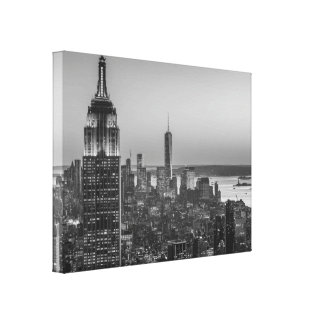 Black & White Aerial View of New York City Night Gallery Wrap Canvas