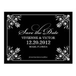 BLACK WHITE AFFAIR SAVE THE DATE ANNOUNCEMENT POST CARDS