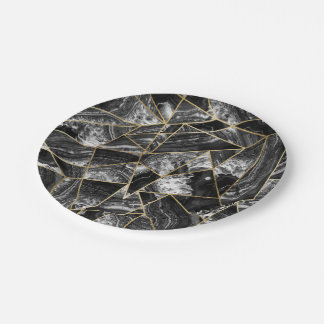 Black White Agate Black Gold Geometric Triangles 7 Inch Paper Plate