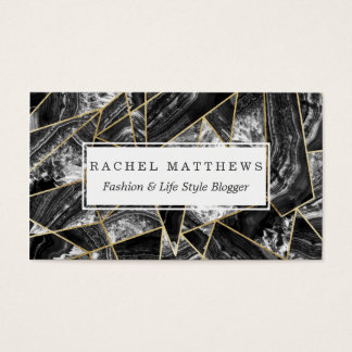 Black White Agate Black Gold Geometric Triangles Business Card