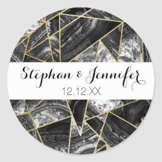 Black White Agate Black Gold Geometric Triangles Classic Round Sticker
