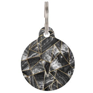 Black White Agate Black Gold Geometric Triangles Pet ID Tag