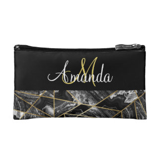 Black White Agate Gold Geometric Triangle Monogram Makeup Bag