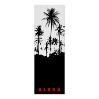 Black White Aloha Hawaii Palm Trees Tropics Travel Poster