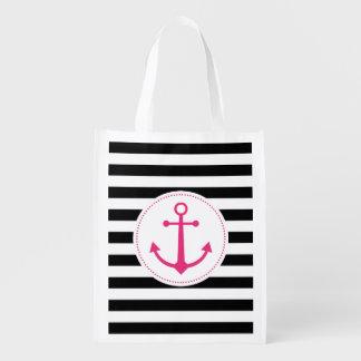 black & white anchor reusable grocery bag